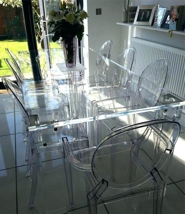 Trendy Clear Plastic Dining Tables Intended For Clear Plastic Dining Table White Molded Plastic Dining Chairs Design (Gallery 3 of 20)