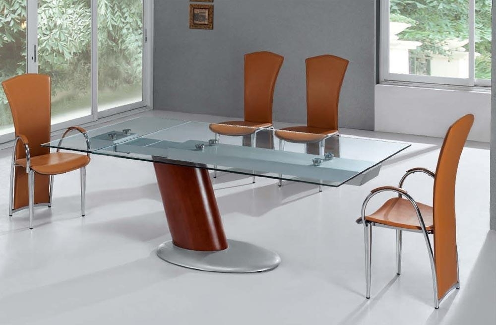 Trendy Contemporary Base Dining Tables Throughout Create A Unique Look With Glass Top Dining Table (View 17 of 20)