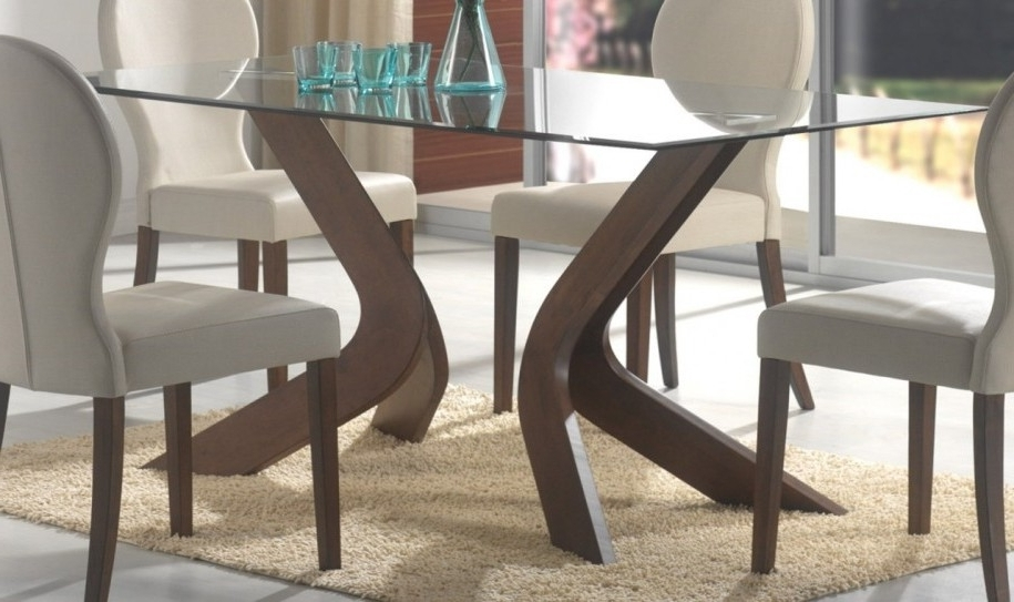 Trendy Contemporary Base Dining Tables Within Glass Top Dining Tables With Wood Base Glass Dining Table With Wood (Gallery 18 of 20)