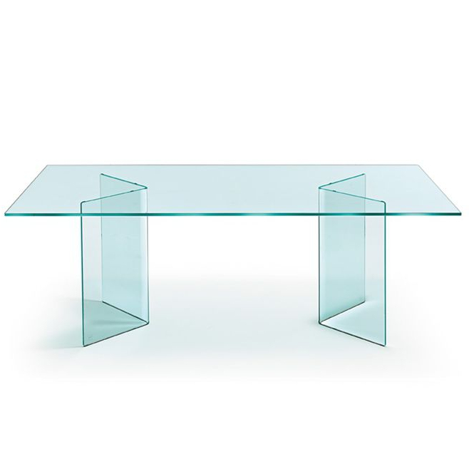 Trendy Contemporary Dining Table / Curved Glass / Rectangular / Round Pertaining To Curved Glass Dining Tables (View 18 of 20)