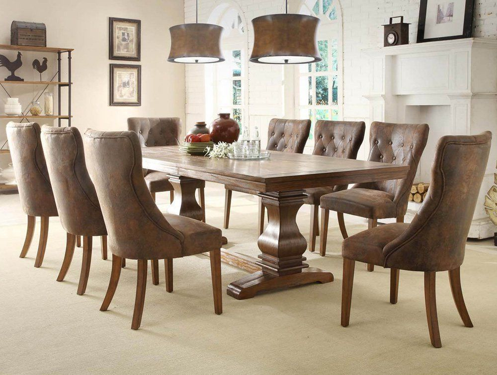 Trendy Craftsman 9 Piece Extension Dining Sets With Uph Side Chairs With 9 Piece Dining Room Table Sets (View 19 of 20)