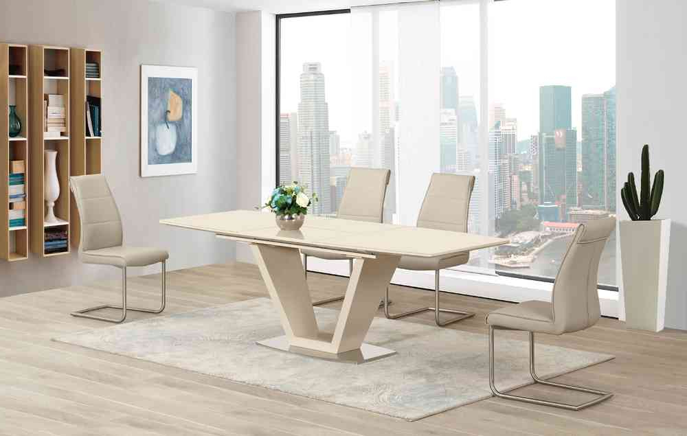 Trendy Cream High Gloss Dining Tables For Cream Extending Glass High Gloss Dining Table And 8 Taupe Chairs (View 18 of 20)