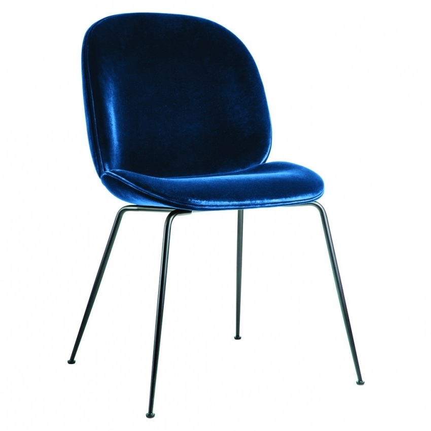 Trendy Dark Olive Velvet Iron Dining Chairs Intended For Beetle Dining Chair Navy Velvet With Black Legs – The Conran Shop (View 5 of 20)