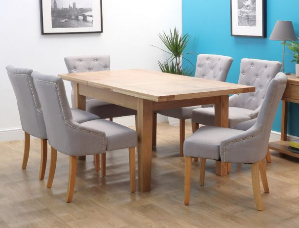 Trendy Denver Oak Extending Single Leaf Dining Set With 6 Chairs Throughout Light Oak Dining Tables And 6 Chairs (View 20 of 20)