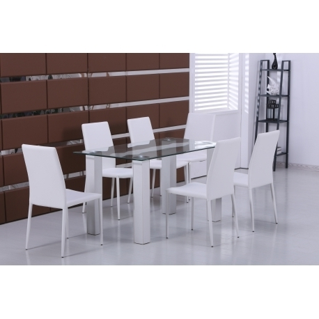 Trendy Designer Clear Glass Dining Table With 6 White Faux Leather Chairs Within Clear Glass Dining Tables And Chairs (View 14 of 20)