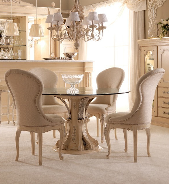 Trendy Dining Room Glass Tables Sets Throughout Opulent Italian Round Glass Dining Table Set (View 17 of 20)