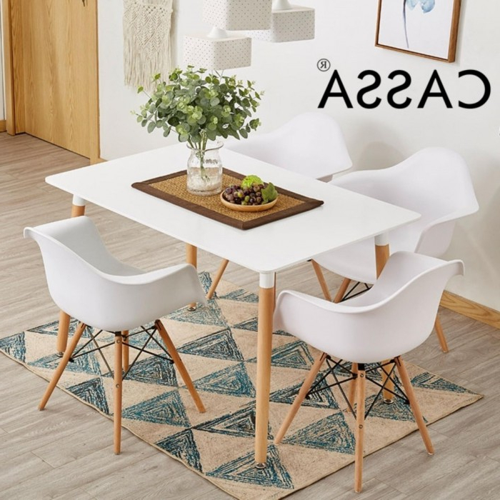 Trendy Dining Tables 120x60 Pertaining To Cassa Eames Dining Set Square Table 120x60 Cm Together With 4 Unit (View 2 of 20)