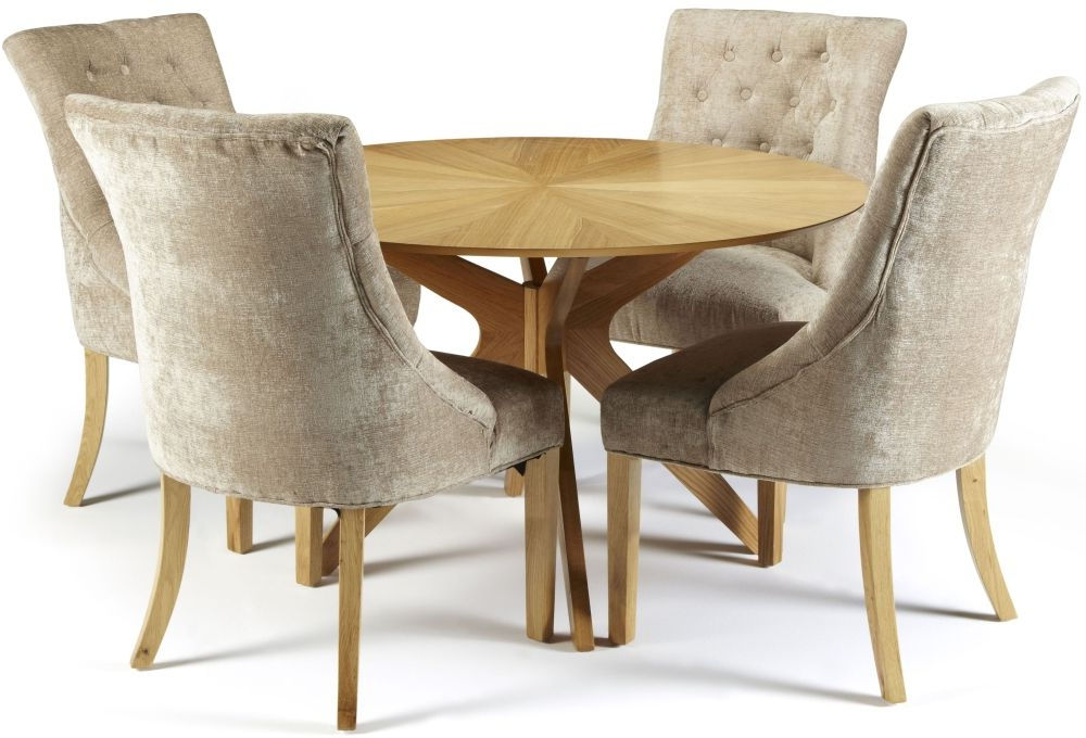 Trendy Dining Tables And Fabric Chairs Throughout Douglas Oak Round Dining Set With 4 Carrol Mink Fabric Chairs (View 10 of 20)