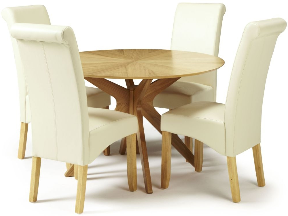 Trendy Douglas Oak Round Dining Set With 4 Courtland Cream Faux Leather With Cream Faux Leather Dining Chairs (View 13 of 20)