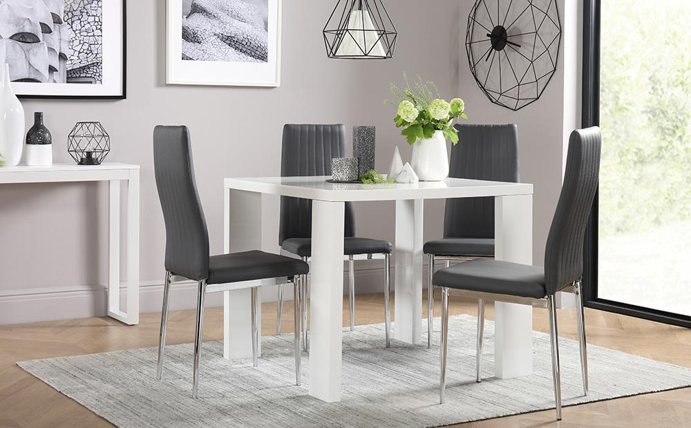 Trendy Eden Square White High Gloss Dining Table With 4 Leon Grey Chairs (View 18 of 20)