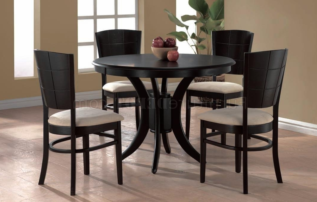 Trendy Espresso Finish Modern Round Dining Table W/optional Chairs Inside Cheap Round Dining Tables (Gallery 7 of 20)