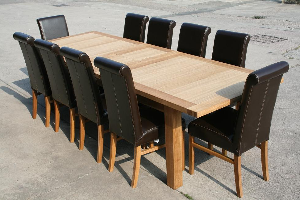 Trendy Extendable Oak Dining Tables And Chairs With Regard To Leather Chair Dining Table Sets (View 18 of 20)