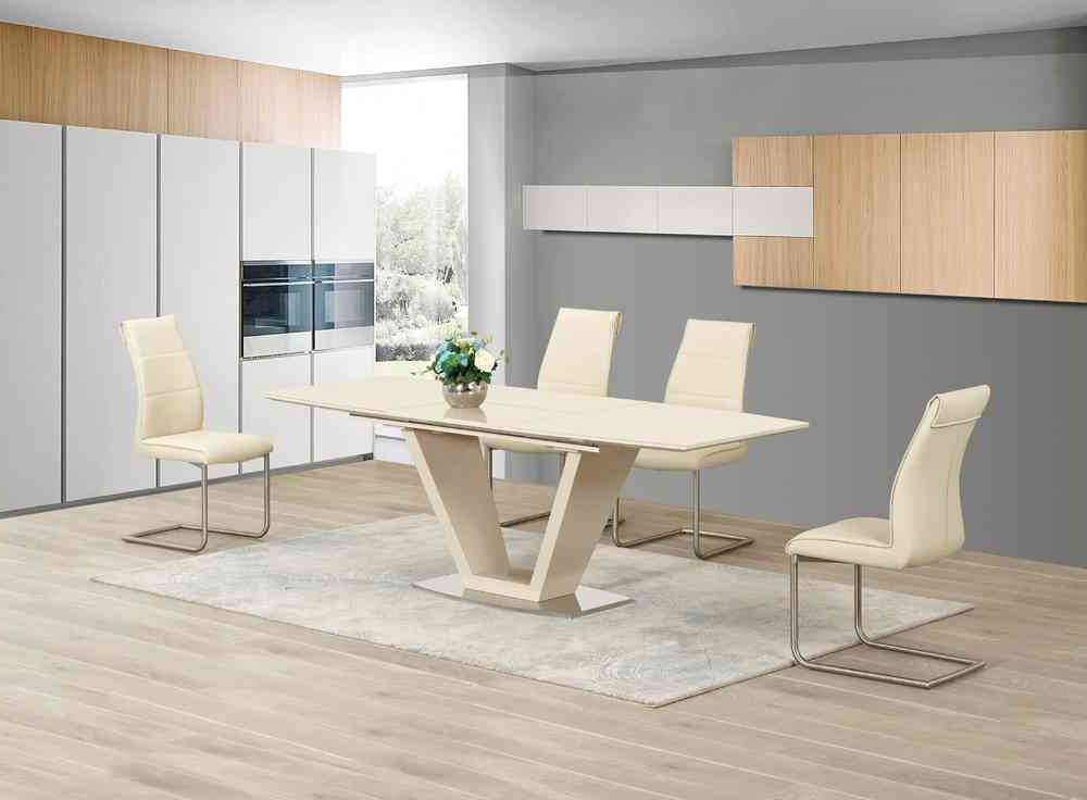 Trendy Extending Cream Glass High Gloss Dining Table And 8 Cream Chairs Intended For Cream Dining Tables And Chairs (View 13 of 20)