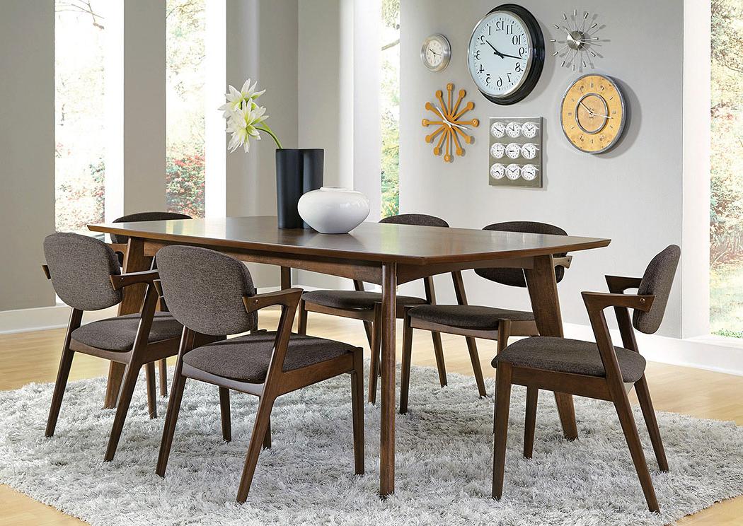 Trendy Furniture Mart Tx Walnut Dining Table W/6 Chairs For Walnut Dining Tables And 6 Chairs (View 12 of 20)