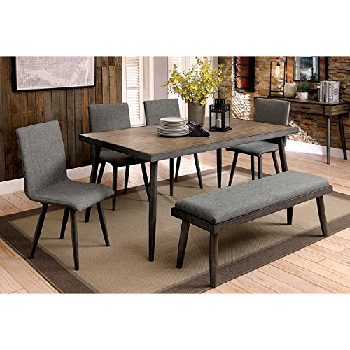 Trendy Furniture Of America Bradensbrook Mid Century Modern Industrial For Industrial Style Dining Tables (View 4 of 20)
