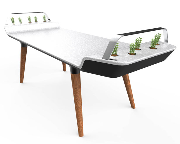 Trendy Gavin Dining Tables Throughout Avia Dining Table With Small Hydroponic Gardens – Tuvie (View 14 of 20)