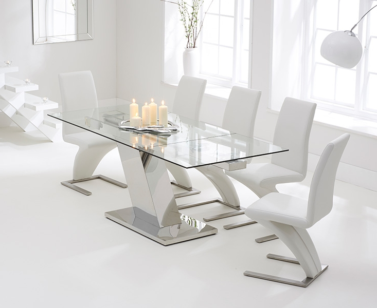 Trendy Glass Extendable Dining Tables And 6 Chairs Within Conrad Glass 140Cm Extending Dining Set With 6 Fusion Z White Chairs (View 19 of 20)