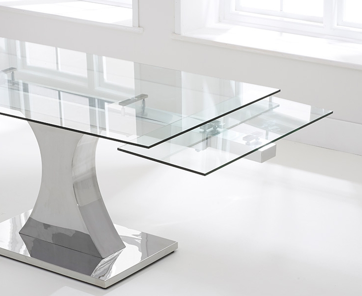 Trendy Glass Folding Dining Tables Intended For Firenza Glass 160cm Extending Dining Set With 6 Fusion Z Black Chairs (View 7 of 20)