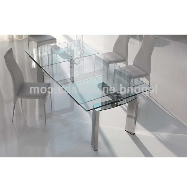 Trendy Glass Folding Dining Tables Intended For N128 Sharp Glass Extendable Dining Table Designs,new Design Products (View 4 of 20)
