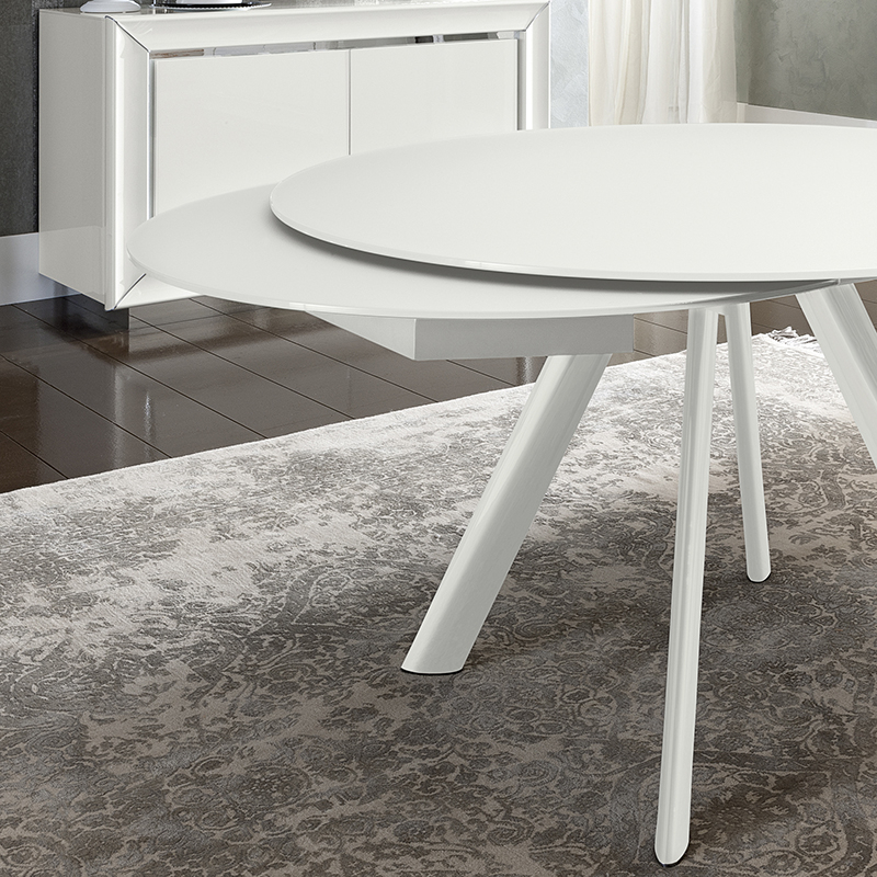 Trendy Glass Round Extending Dining Tables Intended For Bianca White High Gloss & Glass Round Extending Dining Table 1.2 (View 16 of 20)