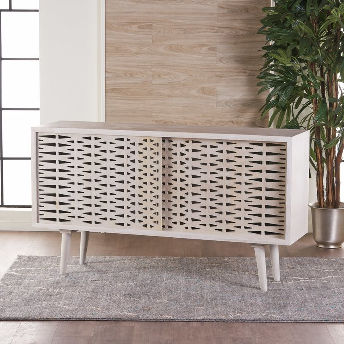 Trendy Grady Round Dining Tables Intended For Bungalow Rose Grady Wood Sliding Door Accent Cabinet & Reviews (View 20 of 20)
