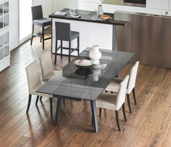 Trendy Grey Dining Tables Intended For Maestro Smoke Grey Extending Dining Table With Graphite Legs – Style (Gallery 8 of 20)