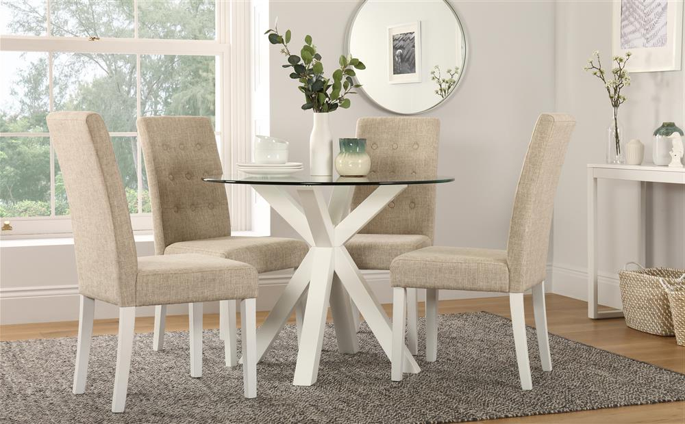 Trendy Hatton Round White Wood And Glass Dining Table With 4 Regent Oatmeal For Glass Dining Tables White Chairs (View 18 of 20)