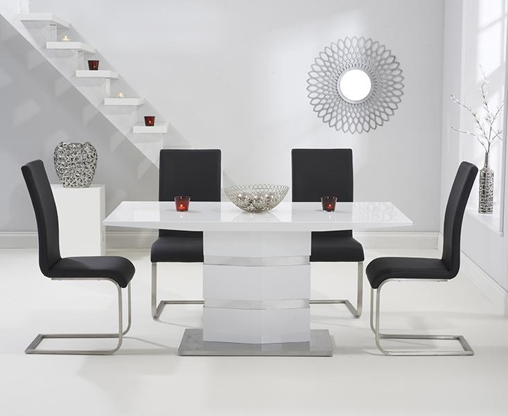 Trendy High Gloss Dining Chairs Pertaining To Buy Mark Harris Springfield White High Gloss Rectangular Dining Set (Gallery 4 of 20)