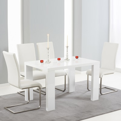 Trendy High Gloss White Dining Chairs With Regard To Metro High Gloss White 120Cm Dining Table With 4 Milan White Chairs (Gallery 12 of 20)
