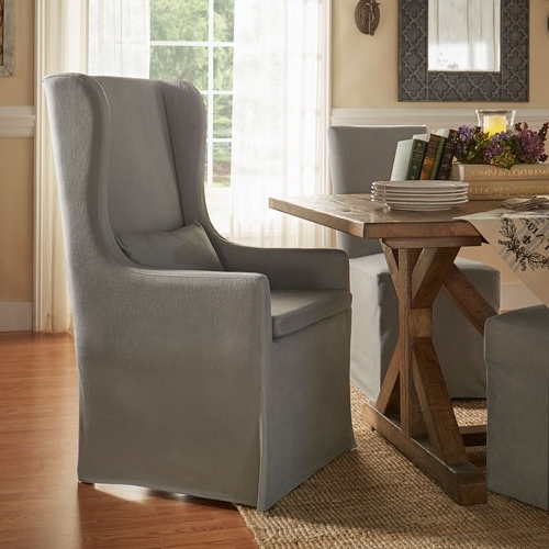 Trendy Homehills Lisle Grey Slipcover Wingback Host Chair 22e703c1pc Gaf(3a Regarding Pearson Grey Slipcovered Side Chairs (View 16 of 20)