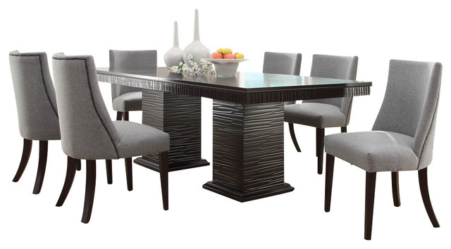 Trendy Homelegance Chicago 7 Piece Pedestal Dining Room Set In Deep With Dining Sets (View 9 of 20)