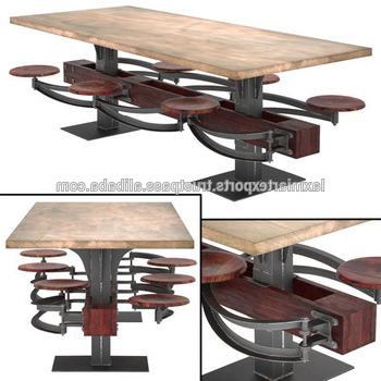 Trendy Industrial Wooden Top Dining Table With Attached 6 Swinging Stools Throughout Dining Tables With Attached Stools (View 3 of 20)