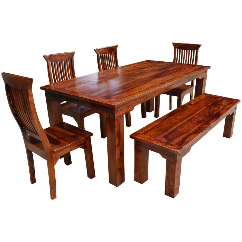 Trendy Jaxon 6 Piece Rectangle Dining Sets With Bench & Uph Chairs With Furniture Three Rustic Wood Dining Benches In Budget Dining Chair (View 19 of 20)