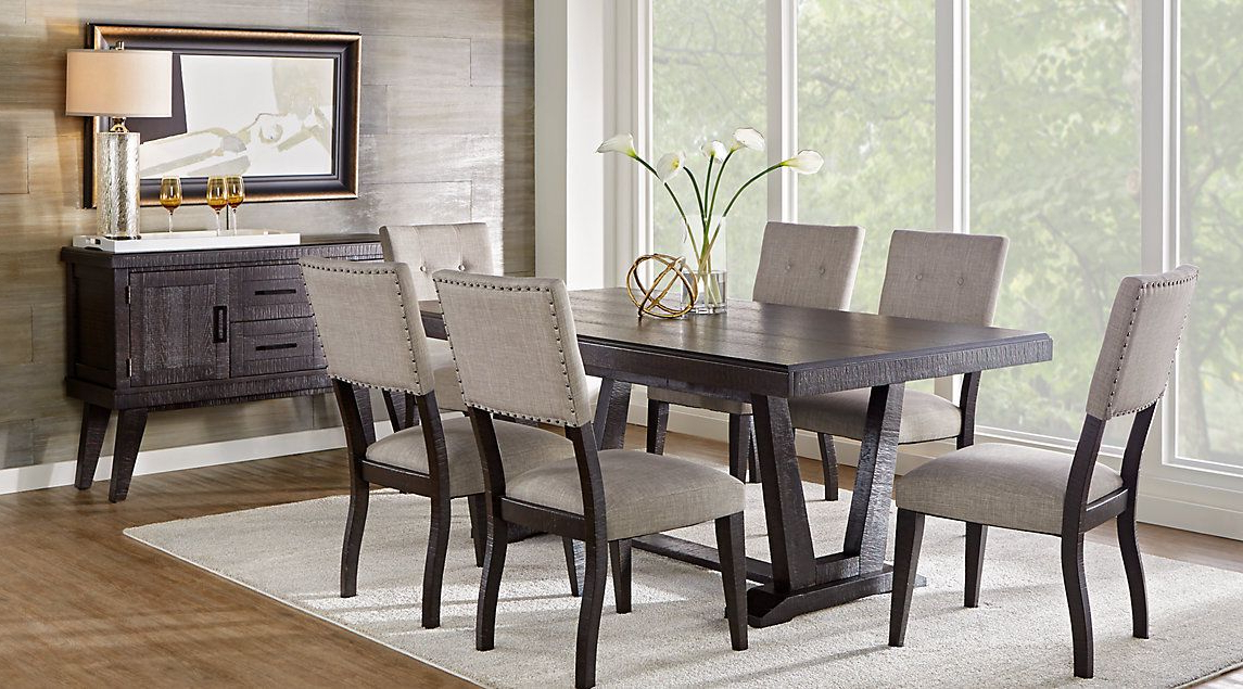 Trendy Jaxon Grey 7 Piece Rectangle Extension Dining Sets With Wood Chairs For Pinethan Rose On Dining Table In (View 19 of 20)
