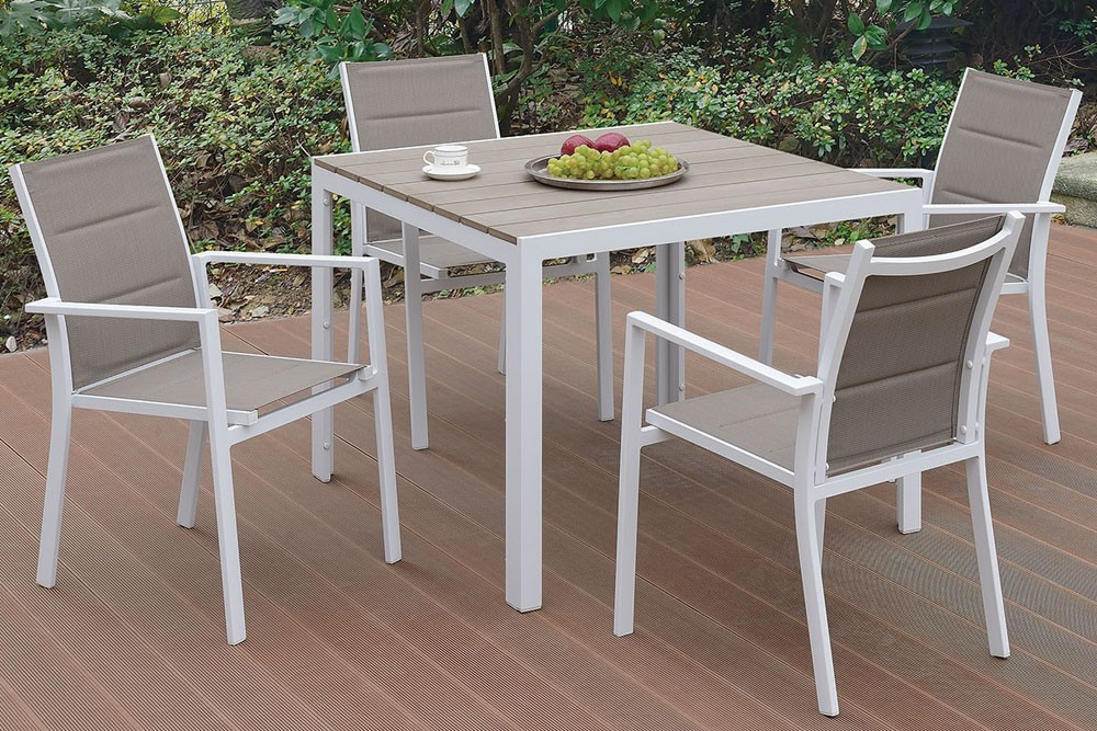 Trendy Jaxon Outdoor 5 Piece Dining Table Set Throughout Jaxon 7 Piece Rectangle Dining Sets With Wood Chairs (View 18 of 20)