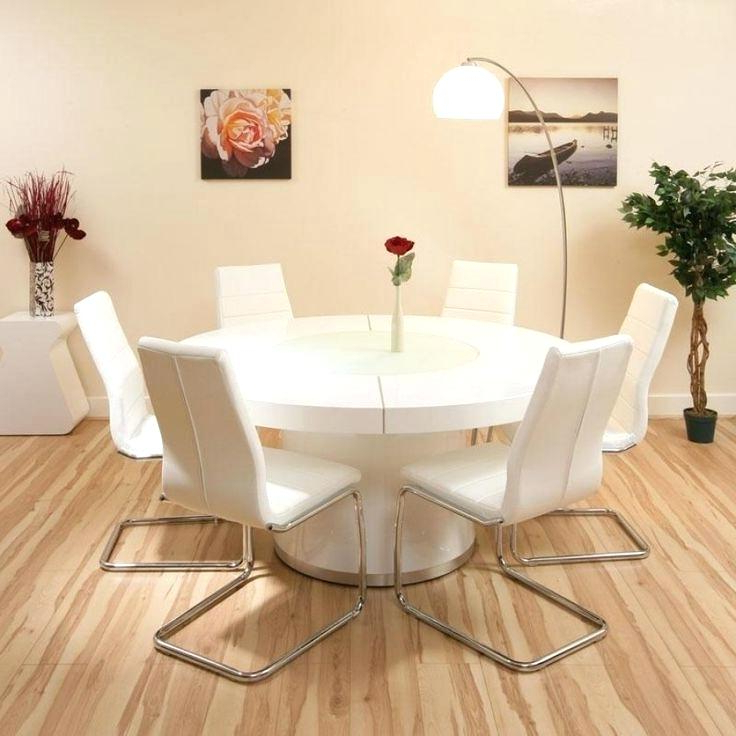 Trendy Large Round Dining Table Seats 6 Round Dining Table Fitted Apron In Large White Round Dining Tables (View 11 of 20)