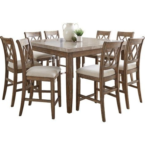 Trendy Lark Manor Portneuf 9 Piece Counter Height Dining Set (View 10 of 20)