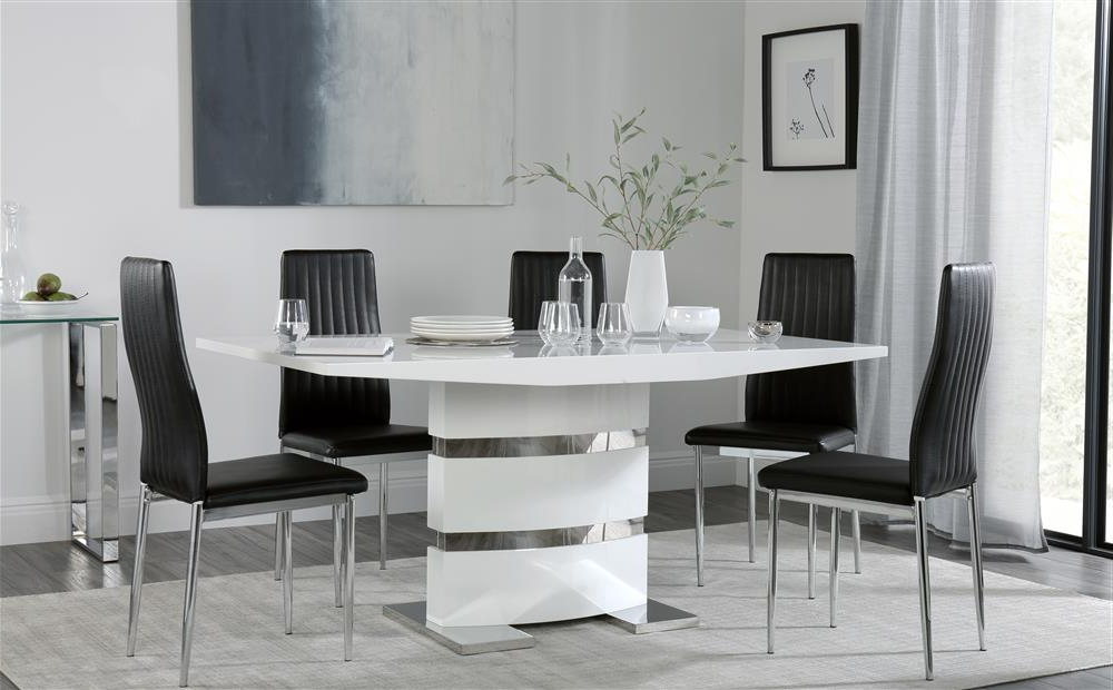 Trendy Leon Dining Tables In Komoro White High Gloss Dining Table With 6 Leon Black Chairs Only (View 19 of 20)