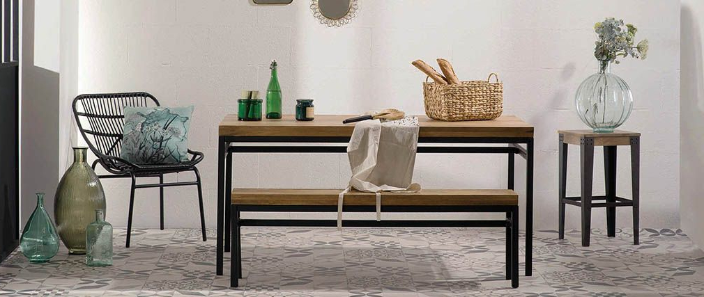 Trendy Mango Wood/iron Dining Tables With Regard To Ypster 160x90cm Industrial Dining Table In Mango Wood And Metal (View 10 of 20)