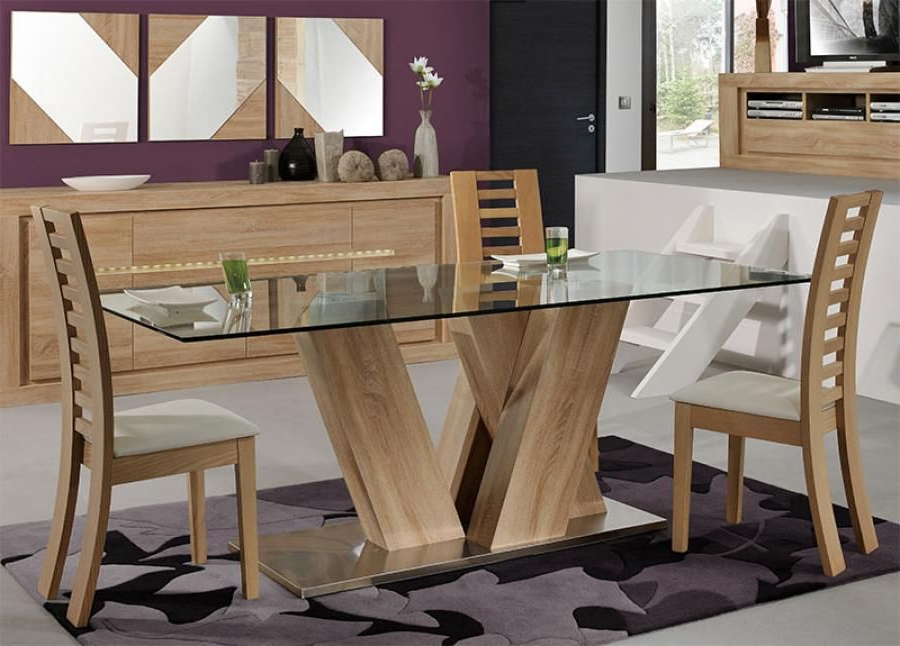 Trendy Modern Wood And Glass Dining Table Wood And Glass Dining Table Inside Wooden Glass Dining Tables (View 7 of 20)