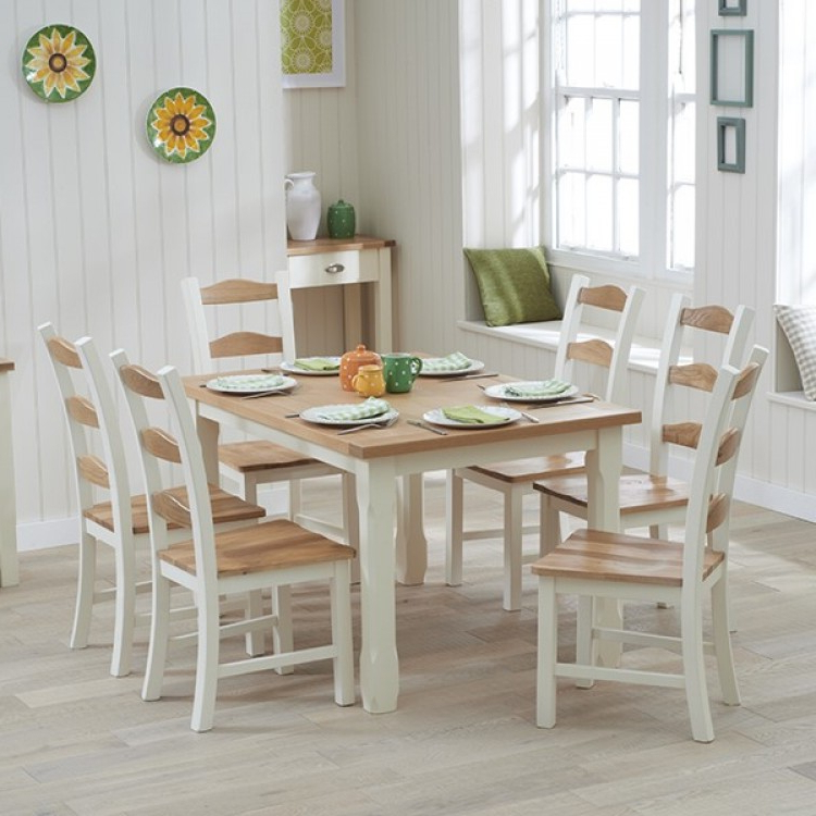 Trendy Oak Dining Set 6 Chairs Regarding Great Offers On Sandringham Oak & Painted Range At Oak Furniture House (View 17 of 20)