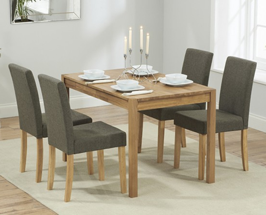 Trendy Oak Dining Tables And Fabric Chairs For Promo 120 Cm Solid Oak Dining Table + 4 Maiya Grey Fabric Chairs (View 18 of 20)