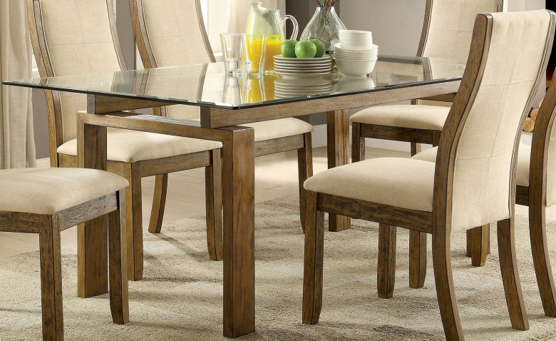 Trendy Oak Glass Top Dining Tables Throughout Furniture Of America Onway Oak Rectangular Glass Top Dining Table (View 16 of 20)