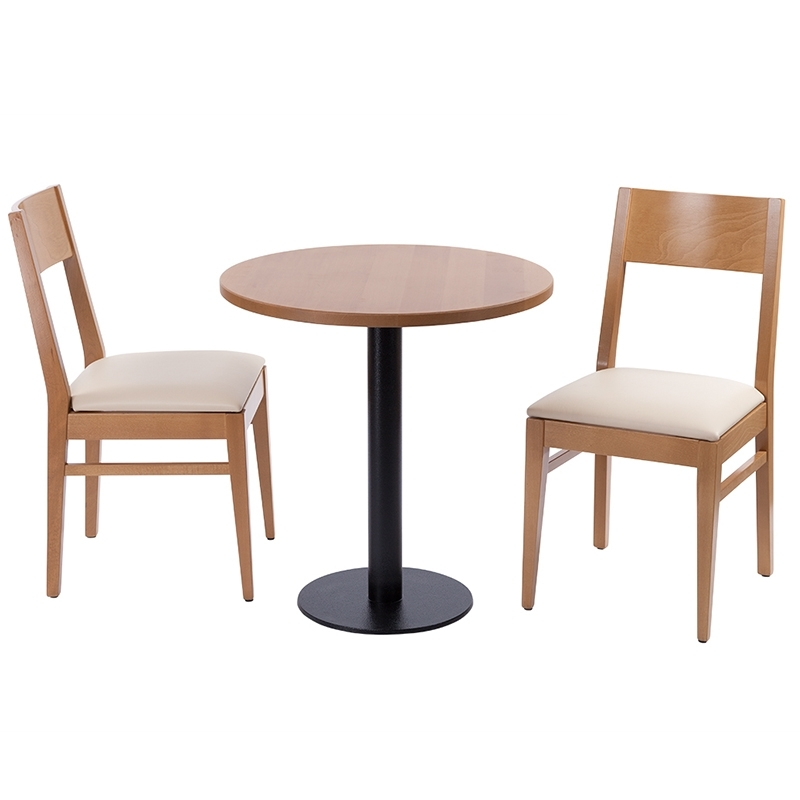 Trendy Orion 2 Seater Oak Round Table And Chair Set – Nobis Restaurant Regarding Orion Side Chairs (View 19 of 20)
