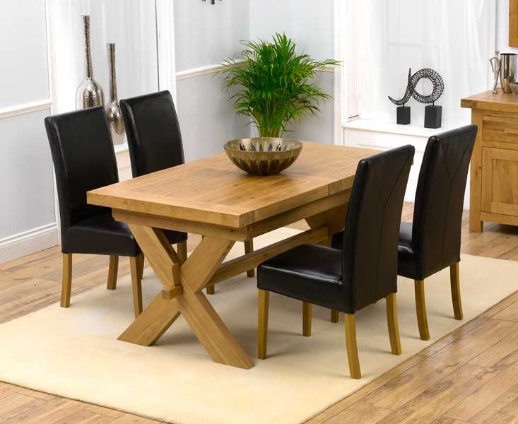 Trendy Padova Solid Oak 160Cm Extending Dining Set With 4 Gatsby Brown Chairs Regarding Oak Extending Dining Tables And 4 Chairs (View 18 of 20)