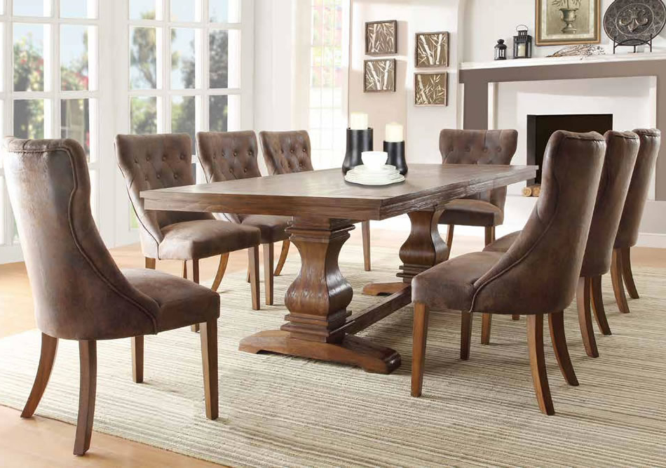 Trendy Pedestal Dining Tables And Chairs Within Dining Room Dining Room Side Chairs Wood Kitchen Table Sets Dark (View 19 of 20)