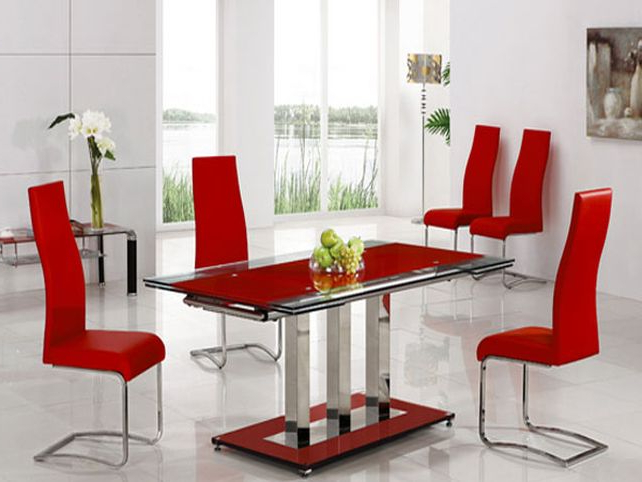 Trendy Red Dining Tables And Chairs With Regard To Red Leather Dining Room Chairs For Sale Red Dining Room Round Dining (View 19 of 20)