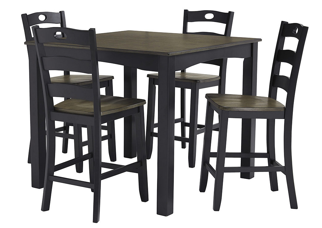 Trendy Rice Furniture & Appliance Froshburg Grayish Brown/black 5 Piece Within Jaxon 5 Piece Extension Round Dining Sets With Wood Chairs (View 10 of 20)
