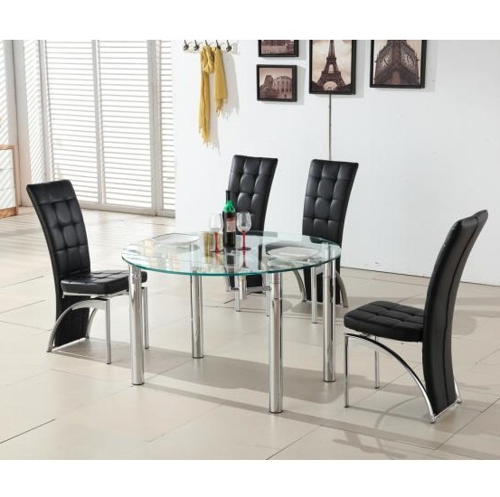 Trendy Round Black Glass Dining Tables And 4 Chairs In Oasis Round Extending Glass Dining Table And 4 Black Chairs (View 16 of 20)