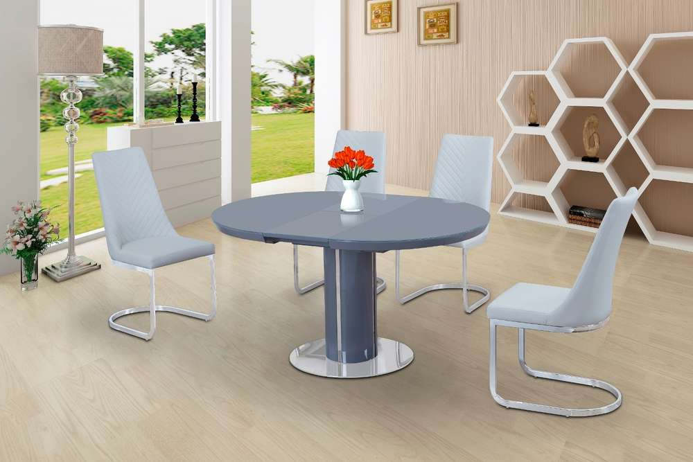 Trendy Round Grey Glass High Gloss Dining Table And 4 White Chairs Regarding Oval White High Gloss Dining Tables (View 10 of 20)